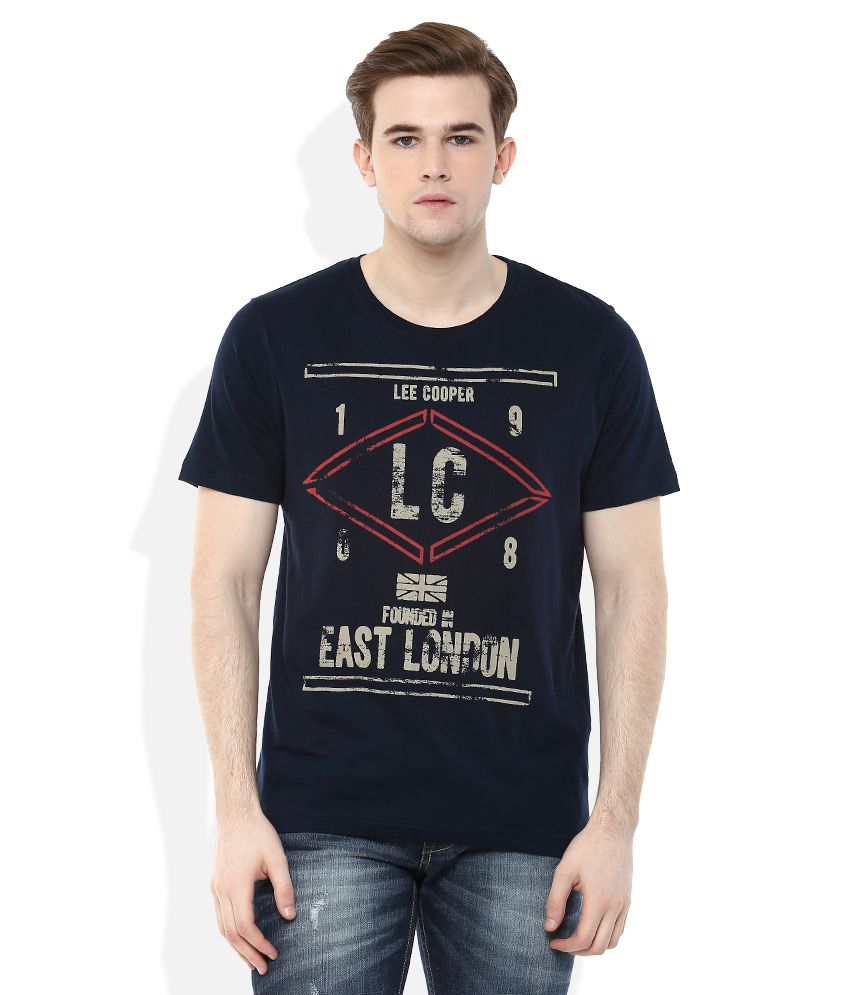 Lee Cooper Navy Blue Printed Regular Fit T-Shirt