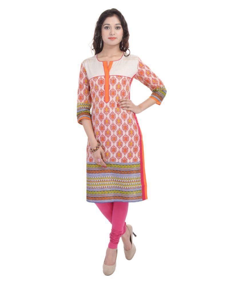 Shopping Rajasthan Orange Cotton Straight Kurti