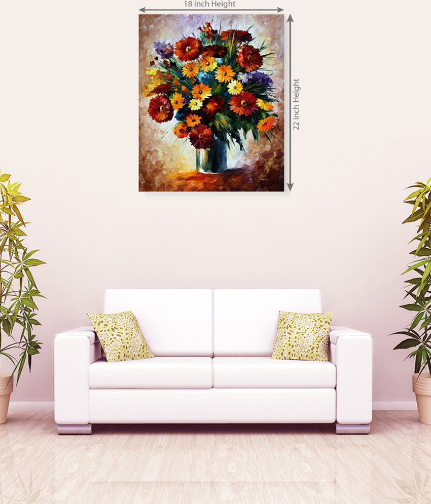 Sky Trends Colorful Flower Pot Romantic Wall Canvas Painting
