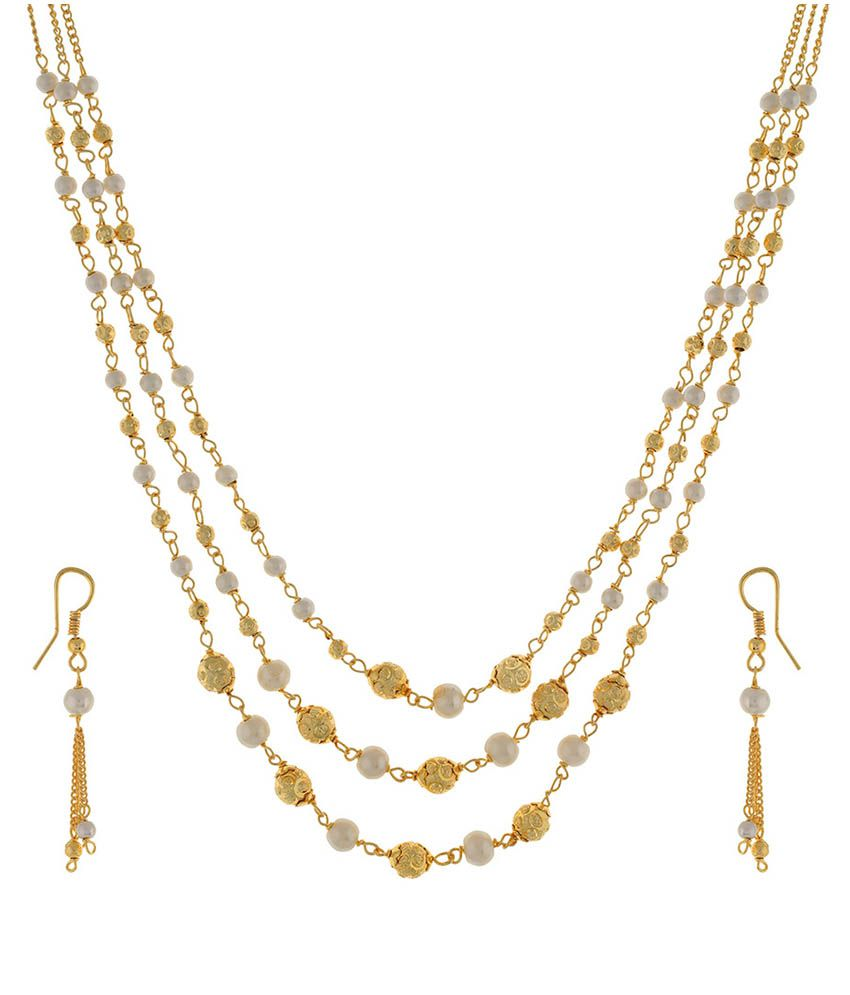 Jewel Planet Golden Necklace Set