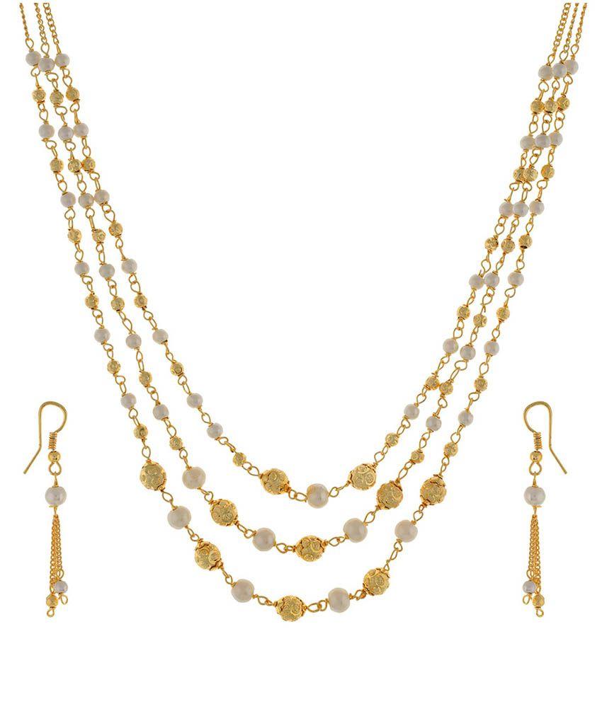 Jewel Planet Golden Necklace Set