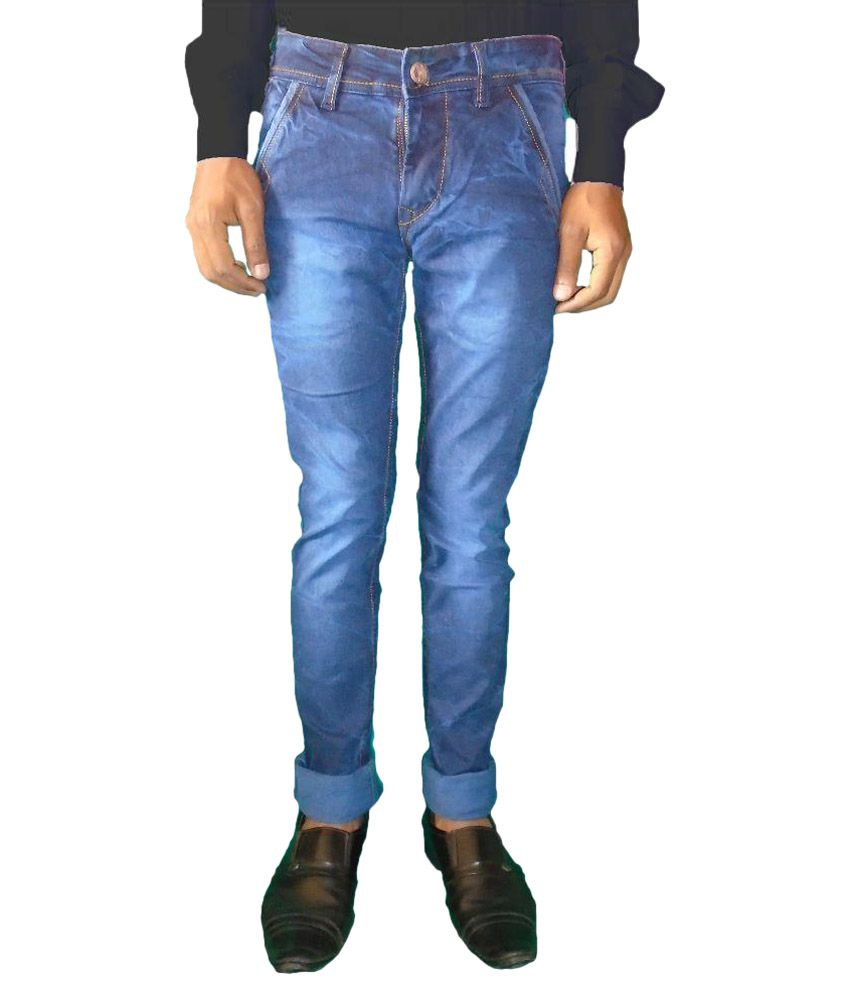 hybrid Blue Slim Fit Faded Jeans