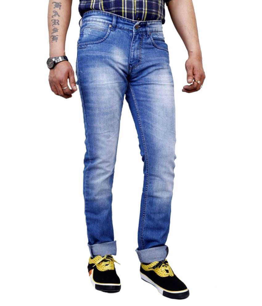 3 Concept Blue Skinny Fit Faded Jeans