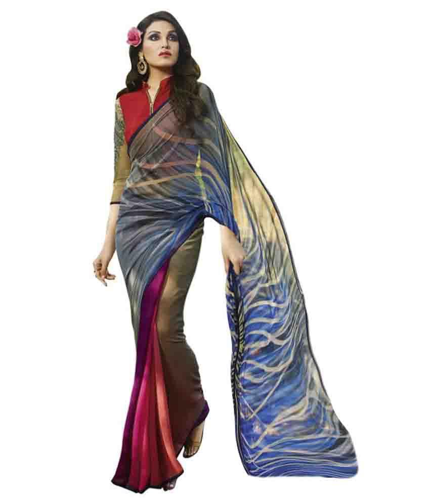 Sthri.in Multicoloured Georgette Saree