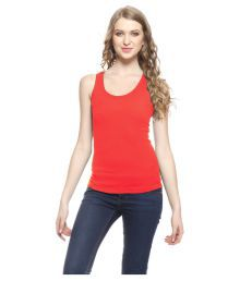 Akaas Red Cotton Blend Tanks Top