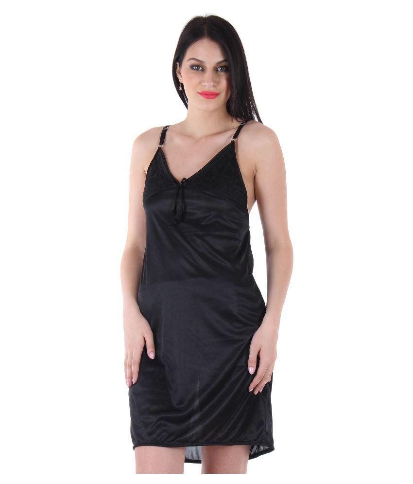 Unico Wear Black Satin Baby Doll Dresses Without Panty