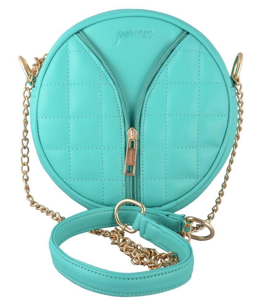 Perwin Turquoise Synthetic Sling Bag