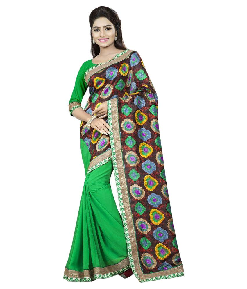 Aai Shree Khodiyar Art Multi Color Bhagalpuri Silk Saree