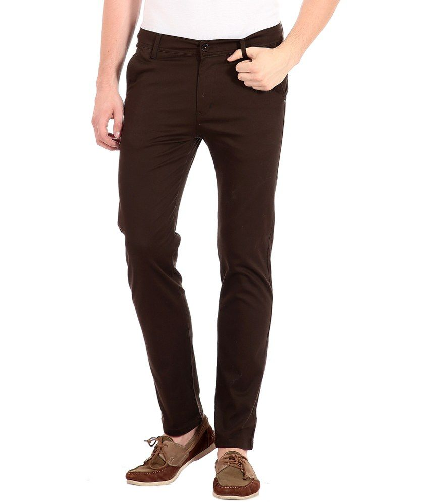 Flyjohn Brown Cotton Slim Casual Chinos