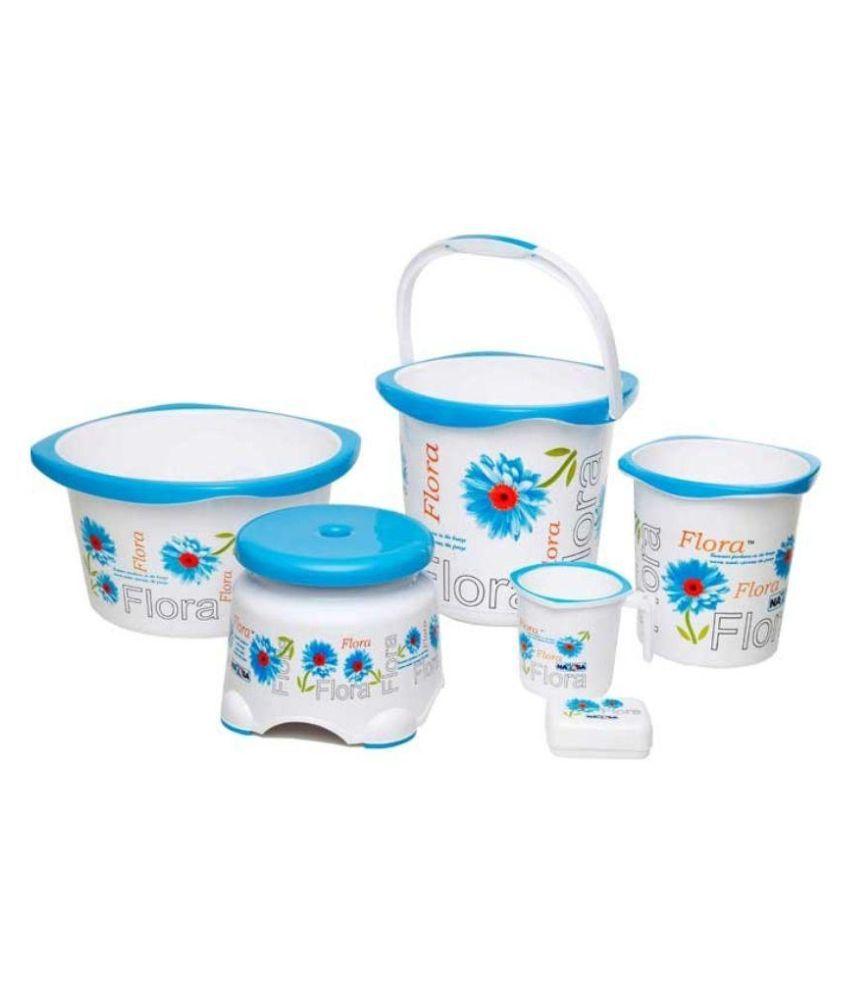 Nayasa Blue Plastic Bath Set 20 Ltr