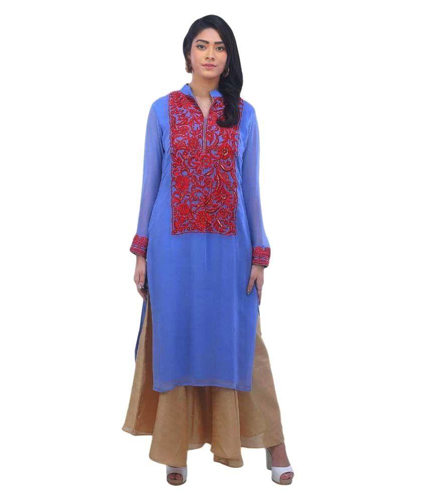 Aafra Purple Cotton Straight Kurti