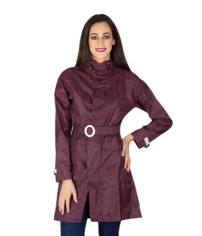 Burdy Maroon Waterproof Long Raincoat