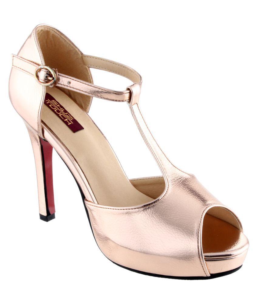 Shuz Touch Gold Stiletto Heels