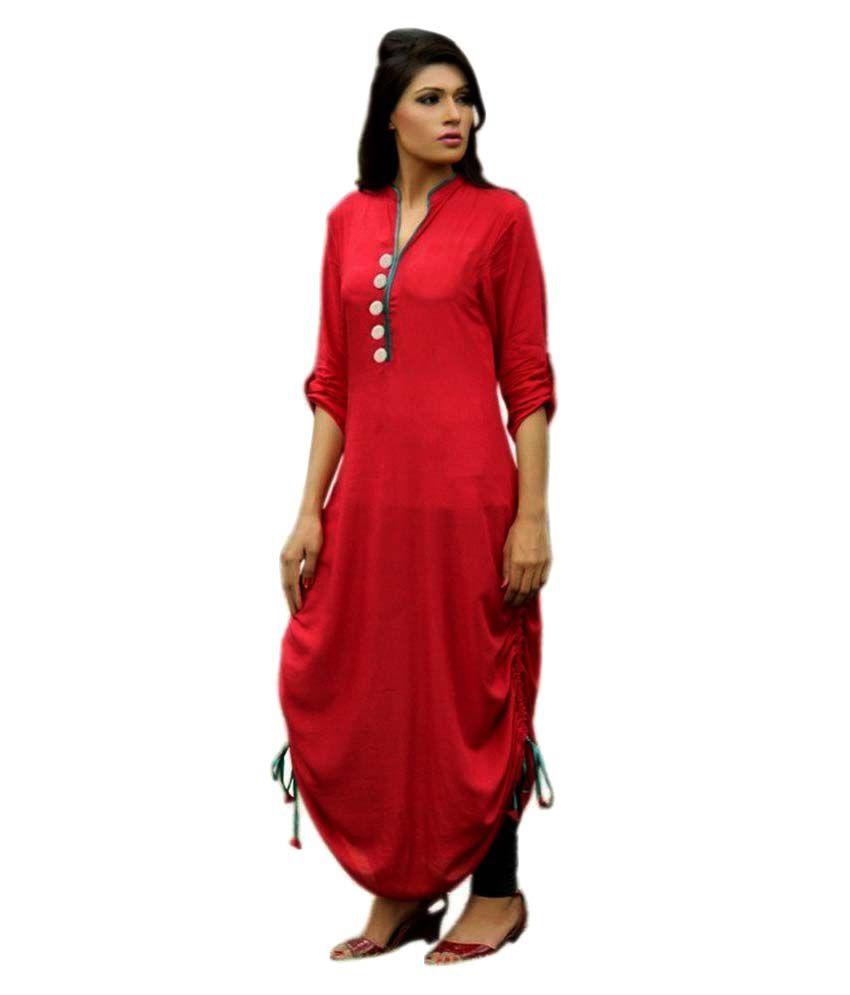 Pushty Fashion Red Cotton A-line Kurti