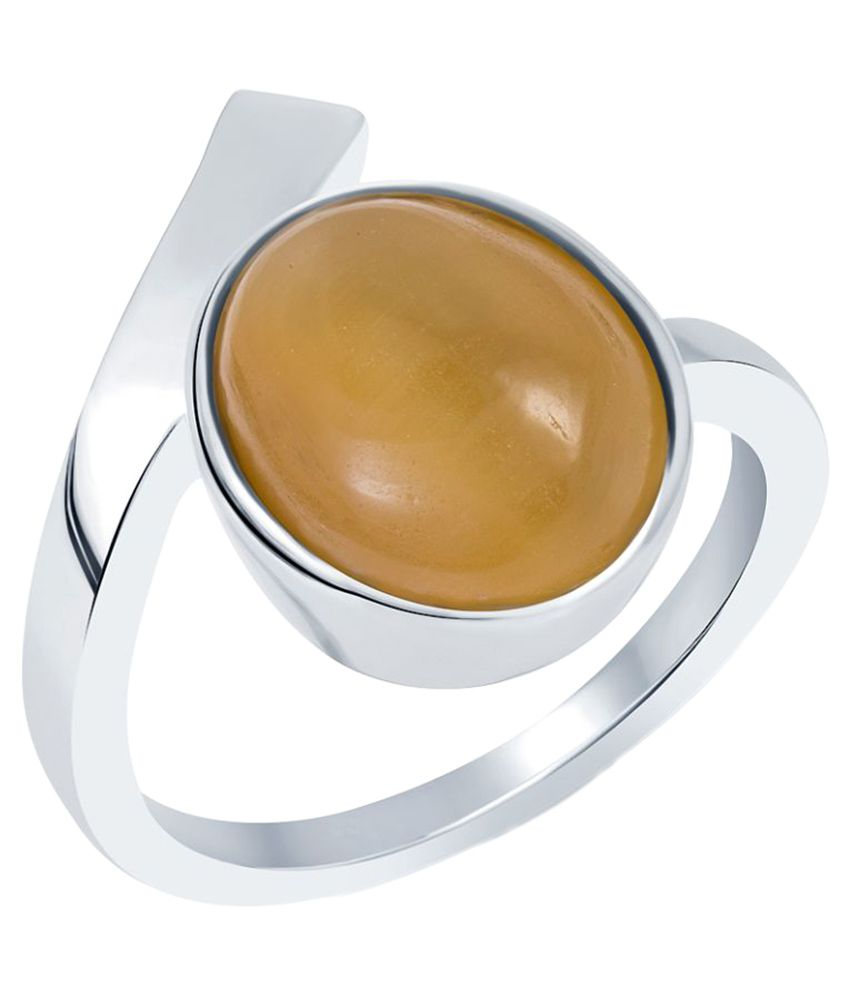G-Luck 92.5 Silver Cat's Eye Ring