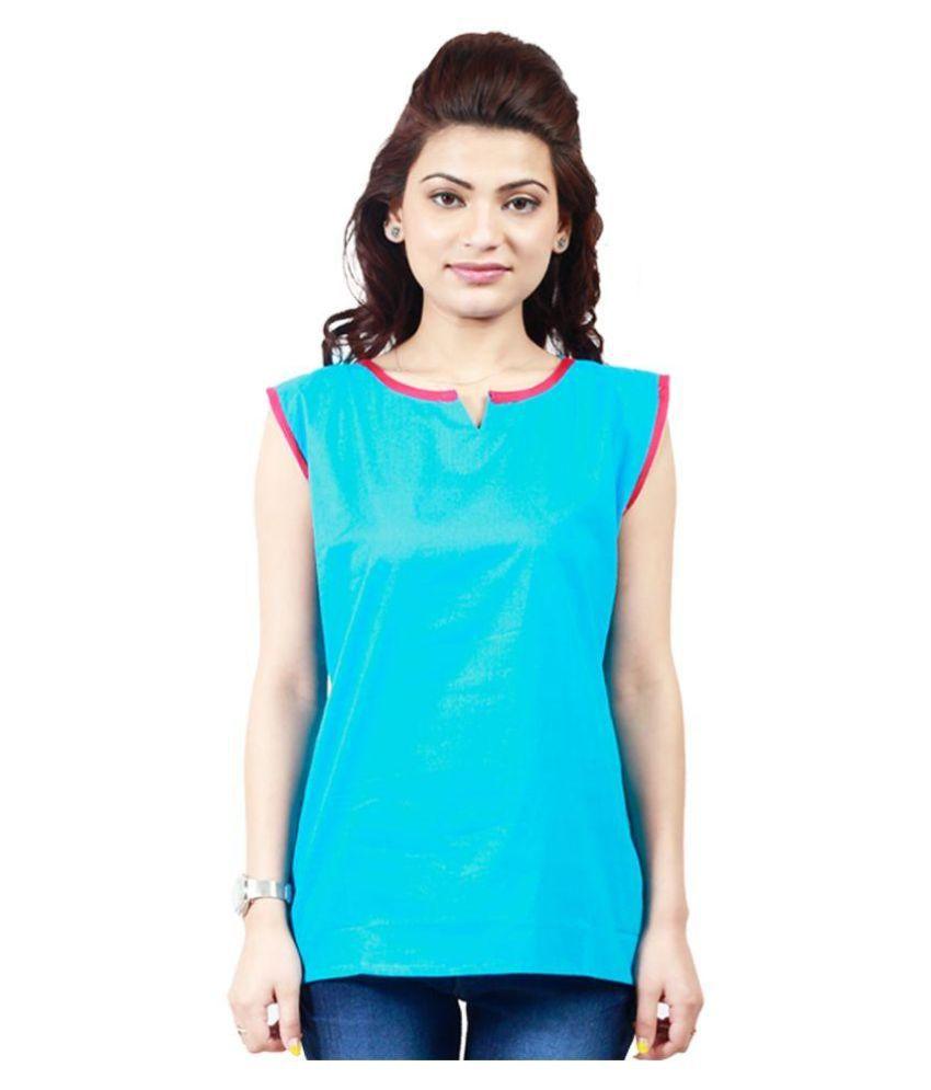 Tulsi Fashion Sky Blue Cotton Straight Kurti