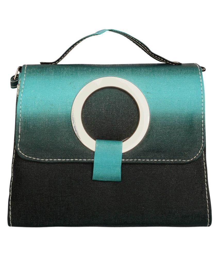 Mooi-Zak Turquoise Faux Leather Satchel Bag
