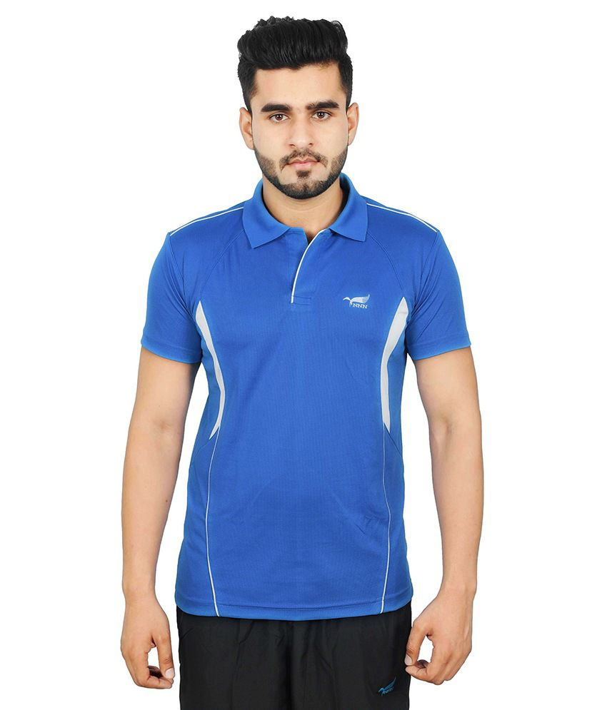 NNN Blue Polyester Polo T-Shirt