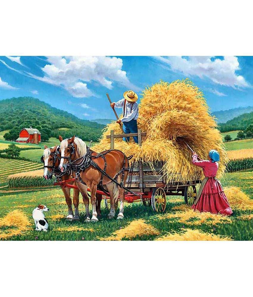 Tallenge Textured Artwork of a Hay Farm Canvas Art Print