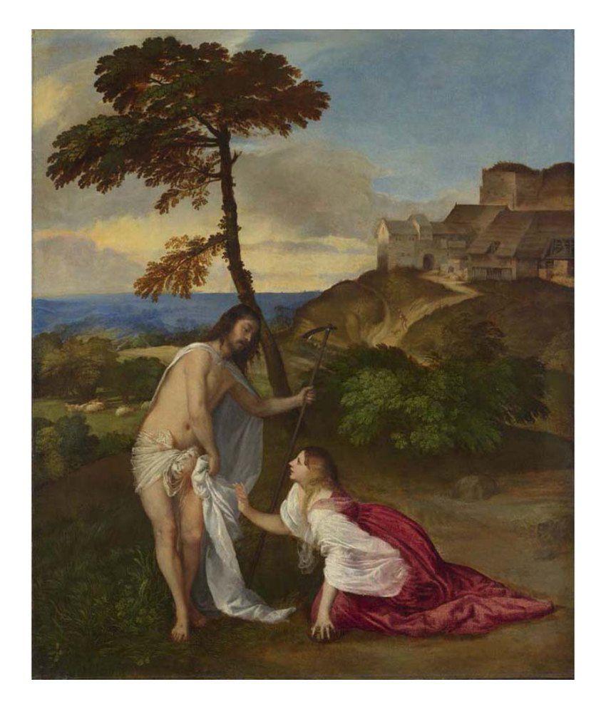 Tallenge Textured Noli me Tangere by Titian Canvas Art Print