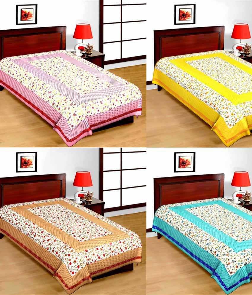 UniqChoice Single Cotton Floral Bed Sheet