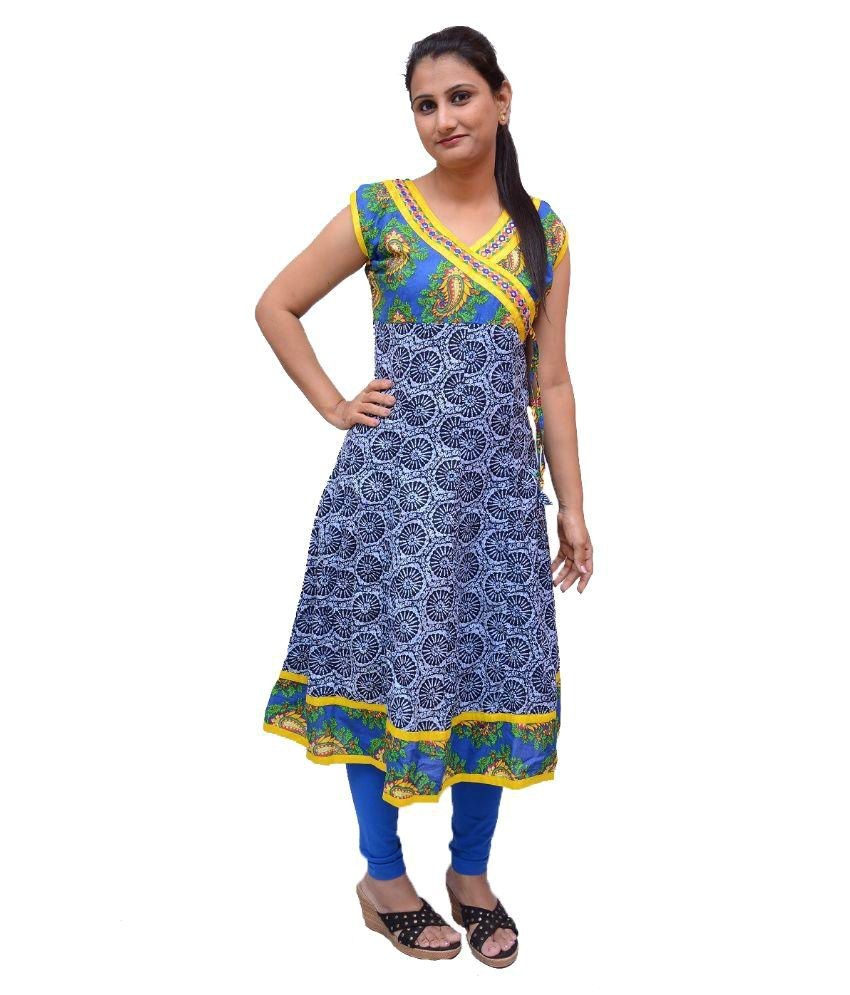 Nieru's Blue Cotton Anarkali Kurti