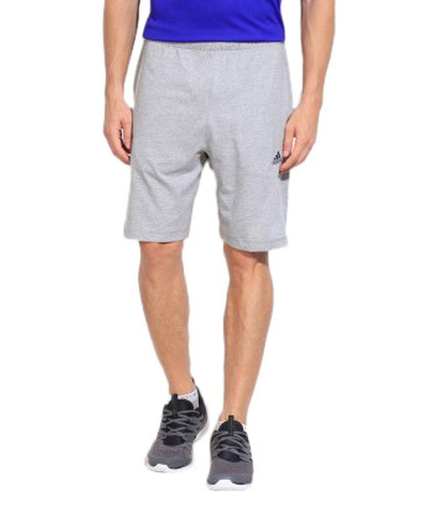 Adidas Grey Solid Men's Sports Shorts