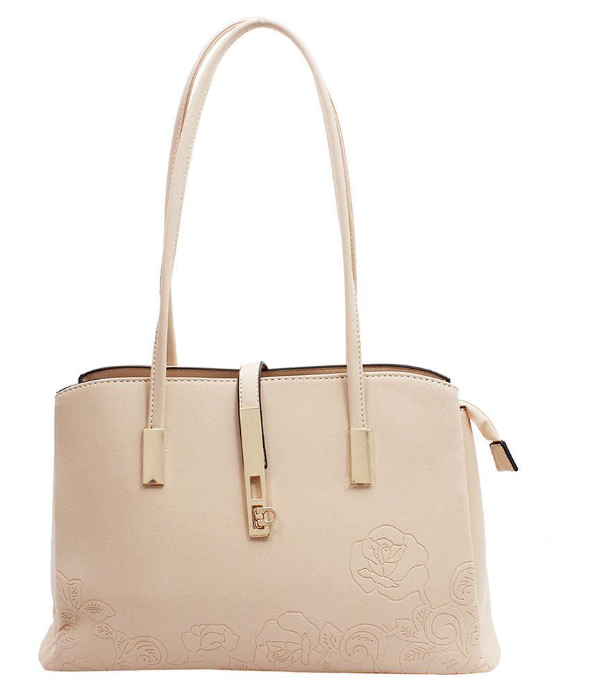 Kushi Beige Faux Leather Shoulder Bag