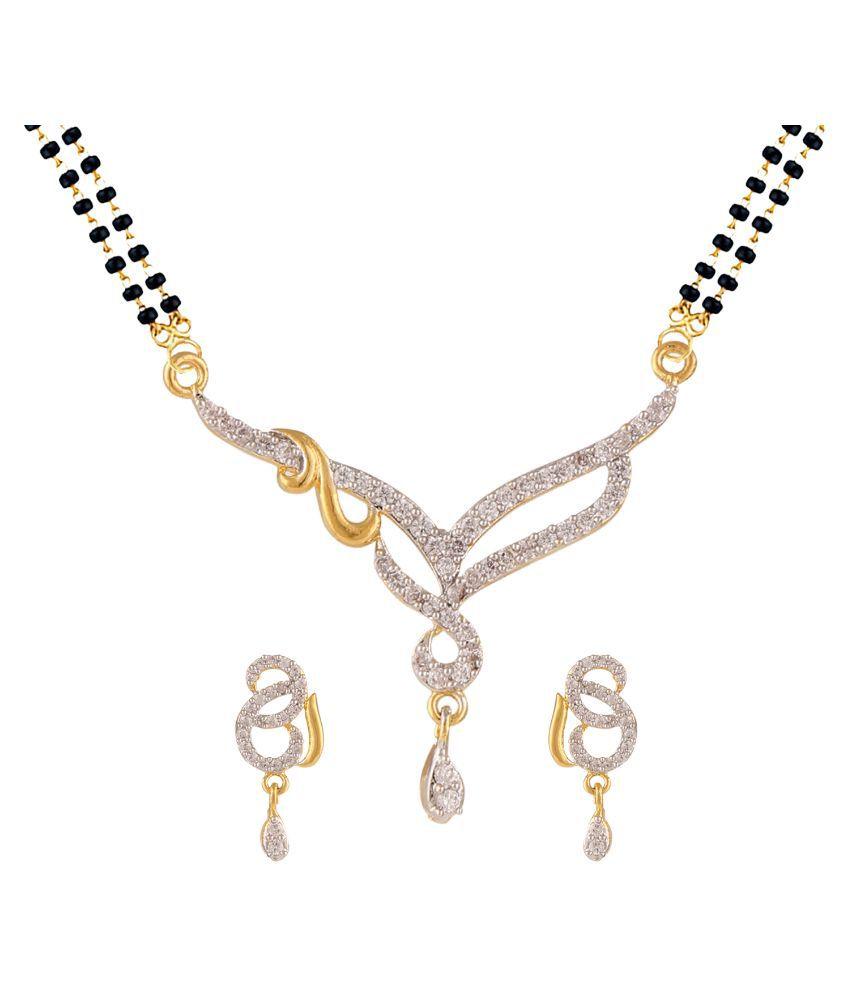 Parinaaz White Gold Plating Mangalsutra Set