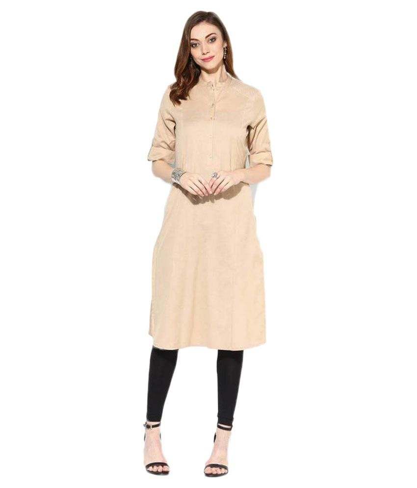 Sai Fashions Beige Cotton Straight Kurti