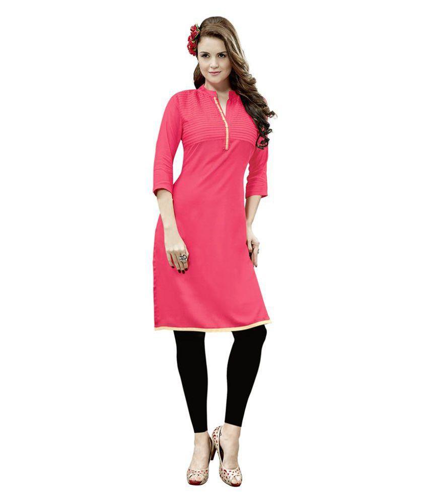 Swaron Pink Rayon Straight Kurti