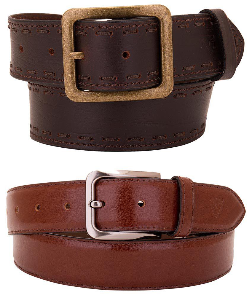 Valbone Brown Leather Belt for Men - Pack of 2