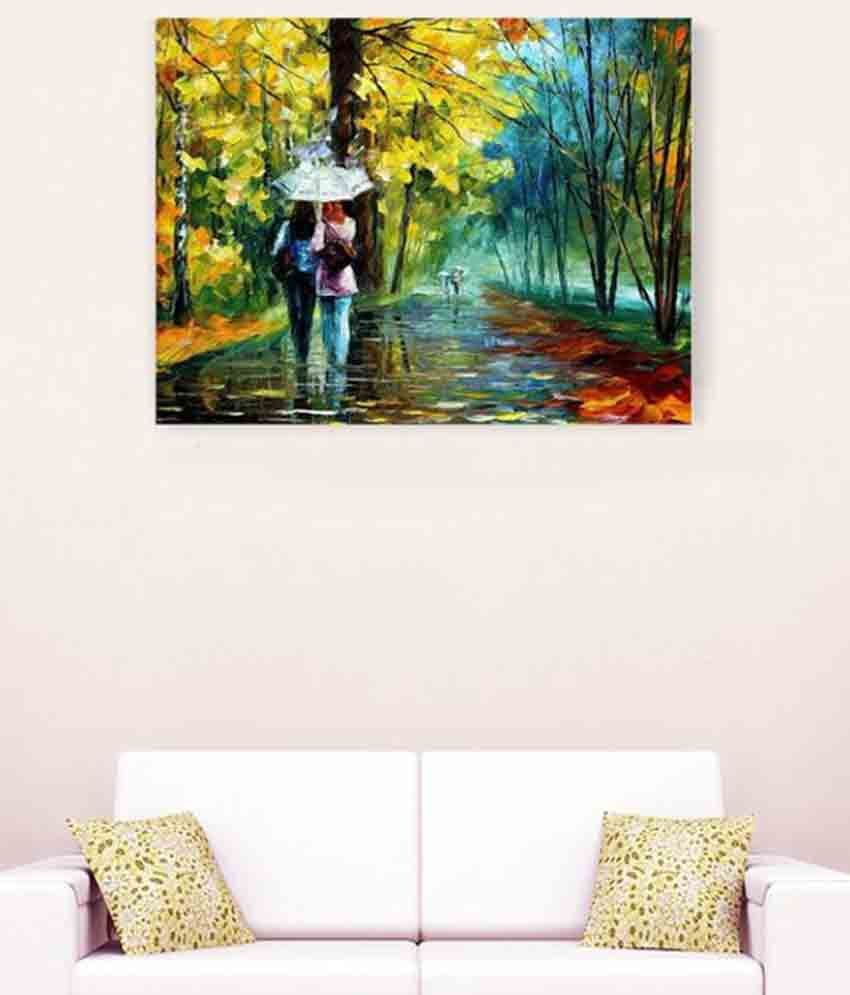 Girls Together In Rain With Ambrella Romantic Canvas Painting