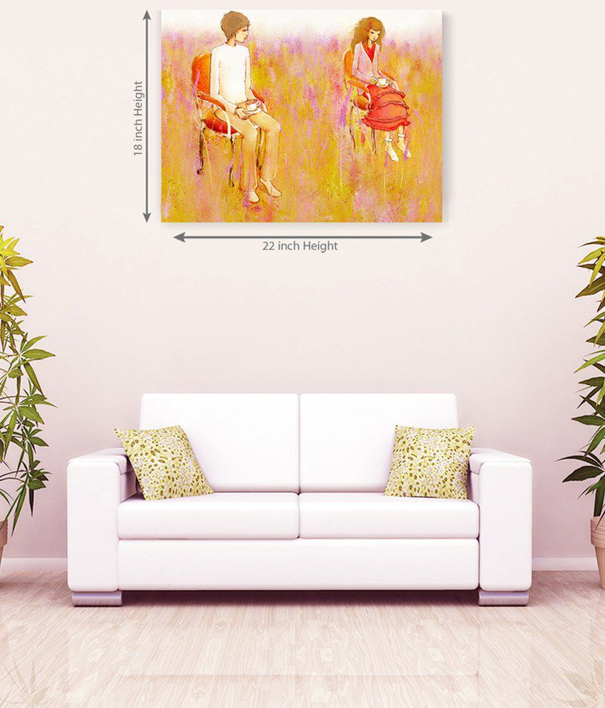 Sky Trends Couple Seating On Chair Canvas Painting