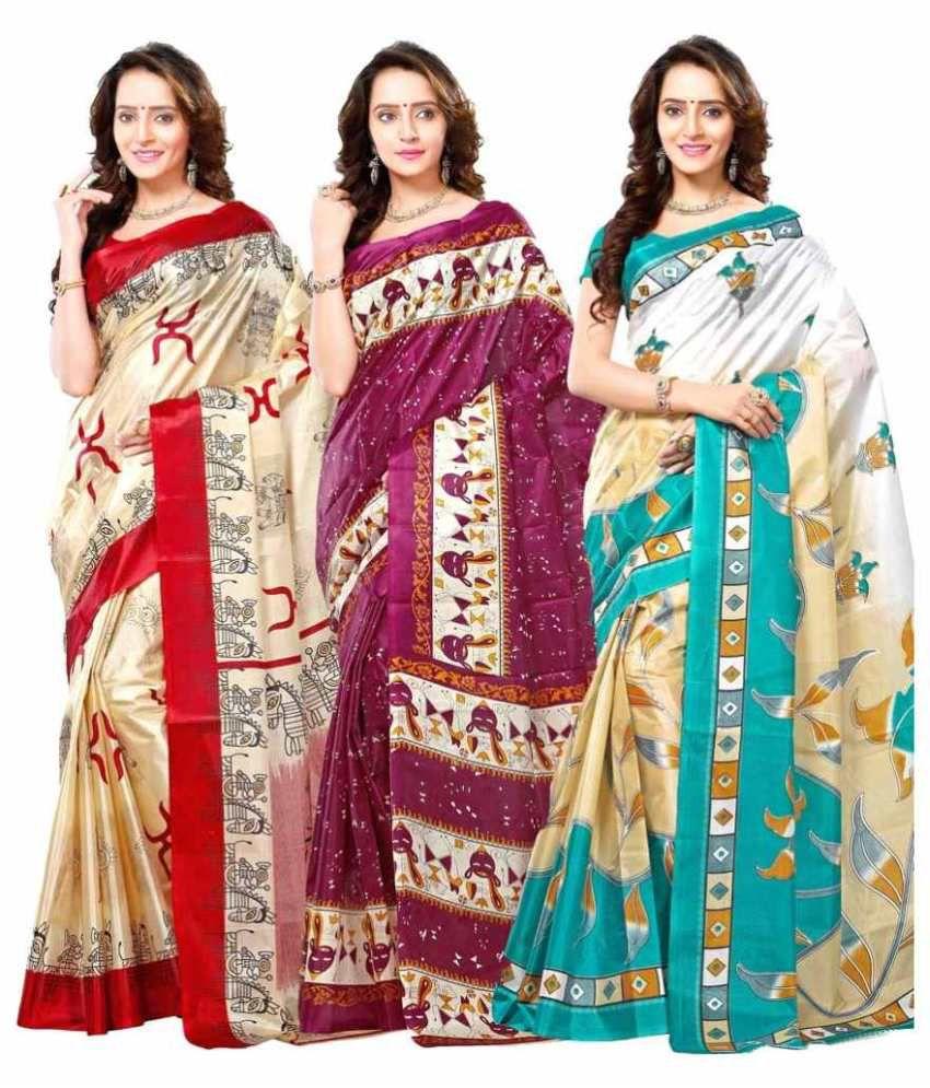 Vibhaa Multicoloured Art Silk Saree Combos