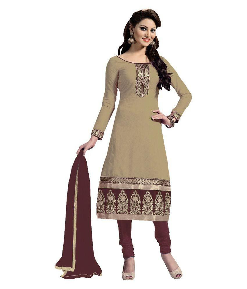 Nilkanth Enterprise Beige Chanderi Straight Unstitched Dress Material