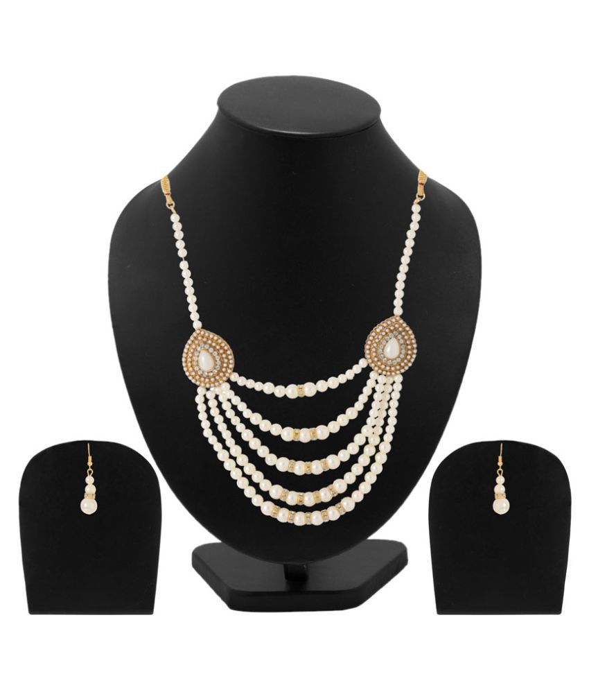 Voylla Golden Beads Pearl Necklace Set