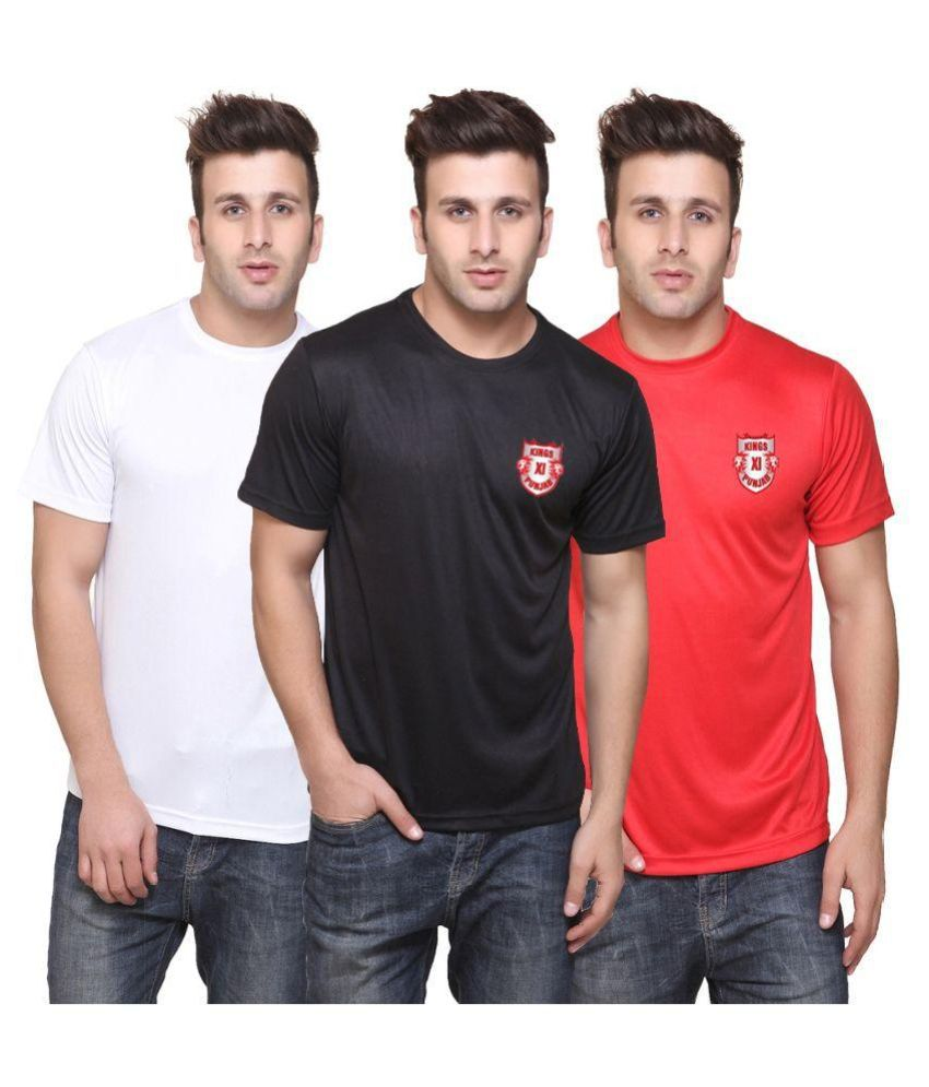 T10 Sports KXIP Multi Polyester T-Shirt Pack of 3