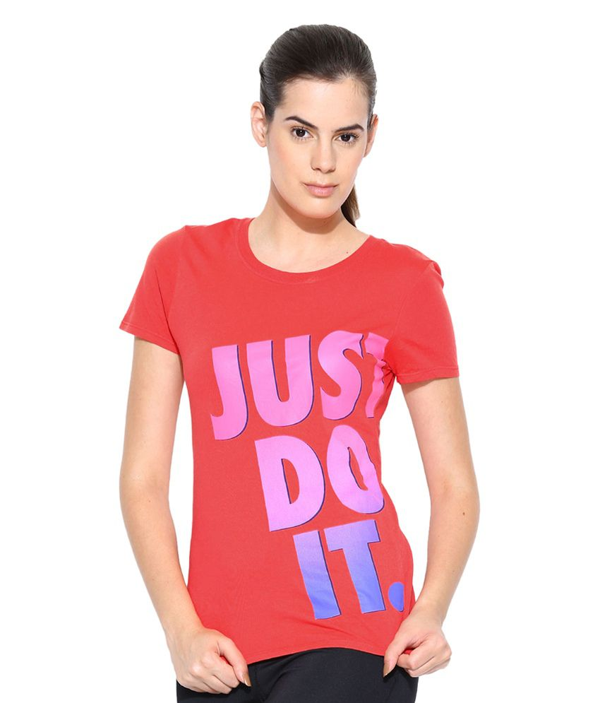 Nike Red Crew JDI Fade Printed T-Shirt for Women