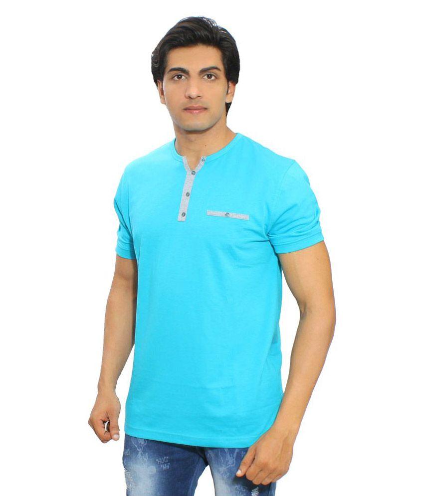Thread Craft Turquoise Henley T-Shirt