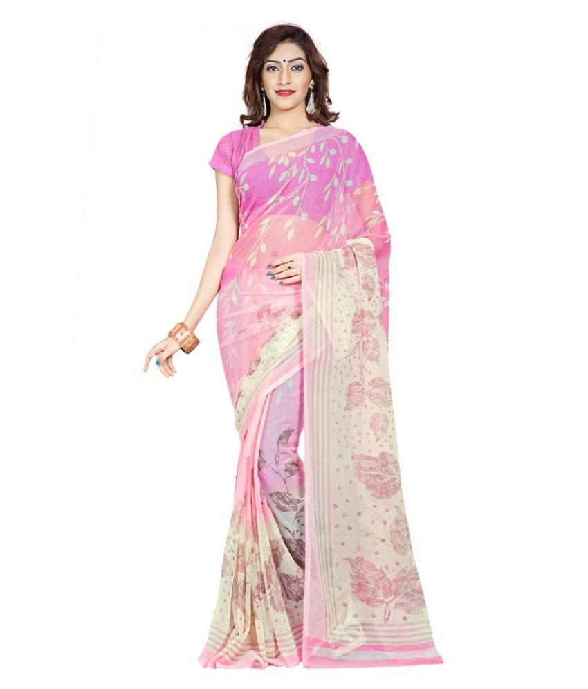Ambaji Pink Chiffon Saree