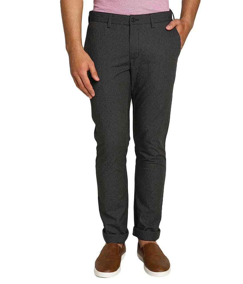 BLACKBERRYS Black Skinny Fit Formal Trousers