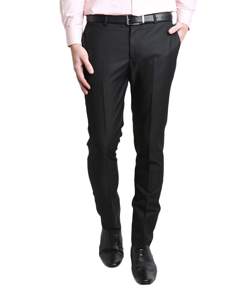 BLACKBERRYS Black Slim Fit Casual Trousers