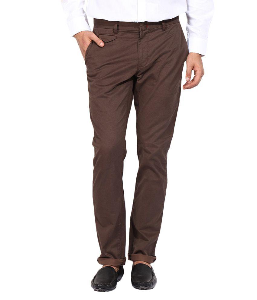 BLACKBERRYS Brown Skinny Fit Formal Trousers