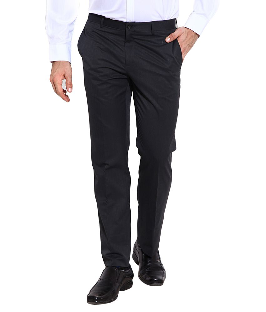 BLACKBERRYS Grey Regular Fit Formal Trousers