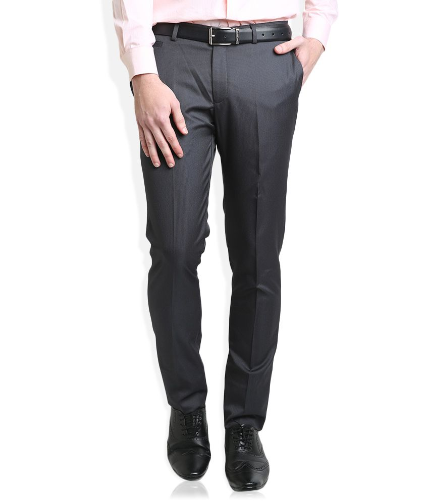 BLACKBERRYS Grey Slim Fit Casual Trousers