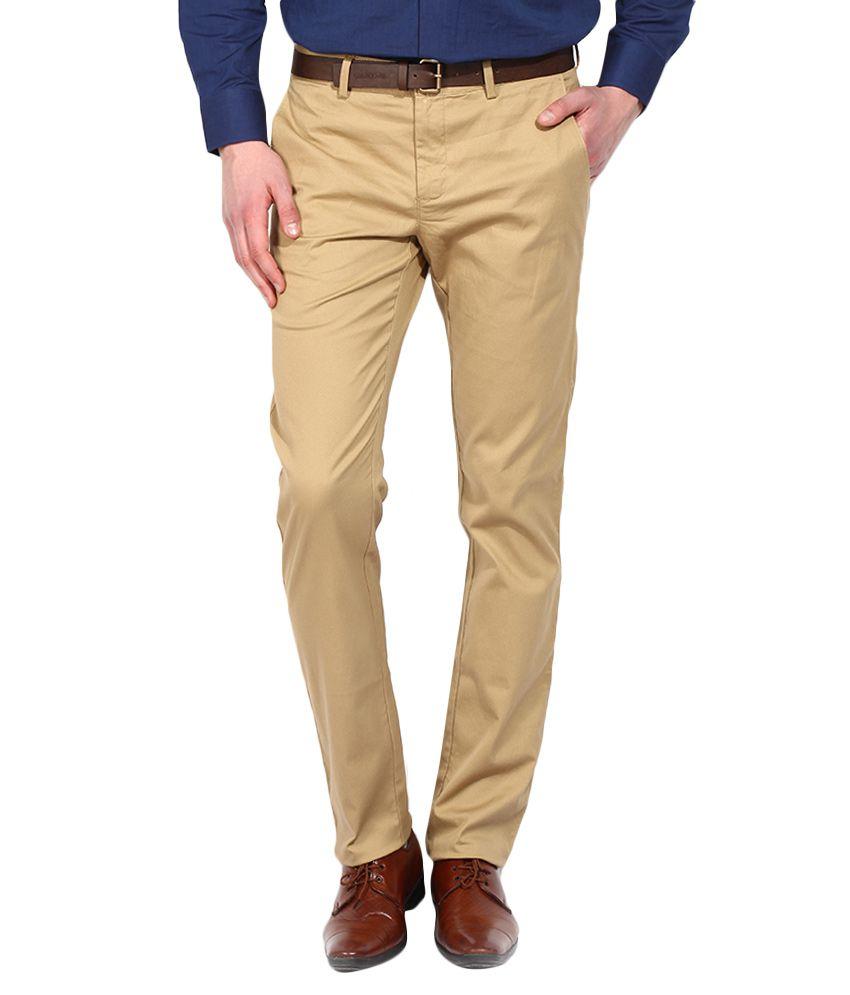 BLACKBERRYS Khaki Skinny Fit Formal Trousers