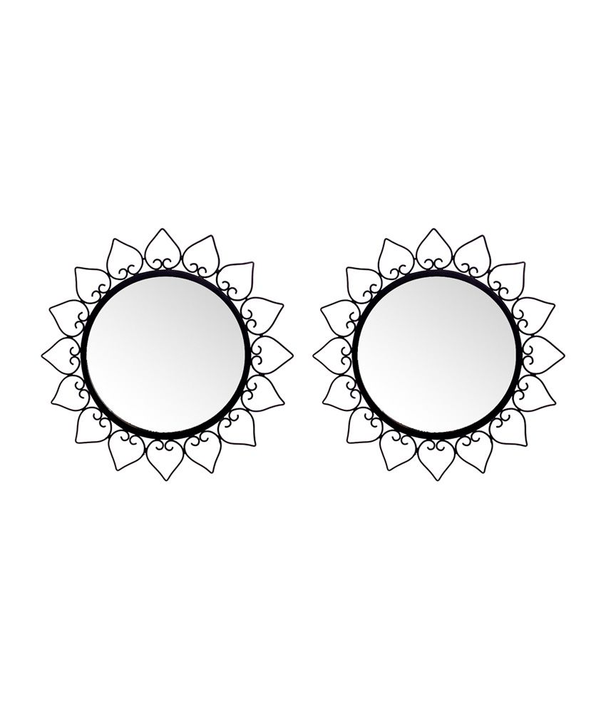 hosley decorative round wall mirrors 12 inches black set of 2 buy hosley decorative round. Black Bedroom Furniture Sets. Home Design Ideas