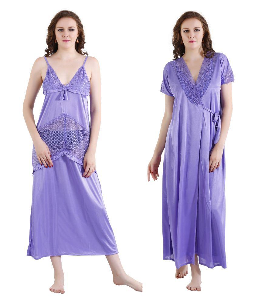 Romaisa Purple Satin Nighty & Night Gowns