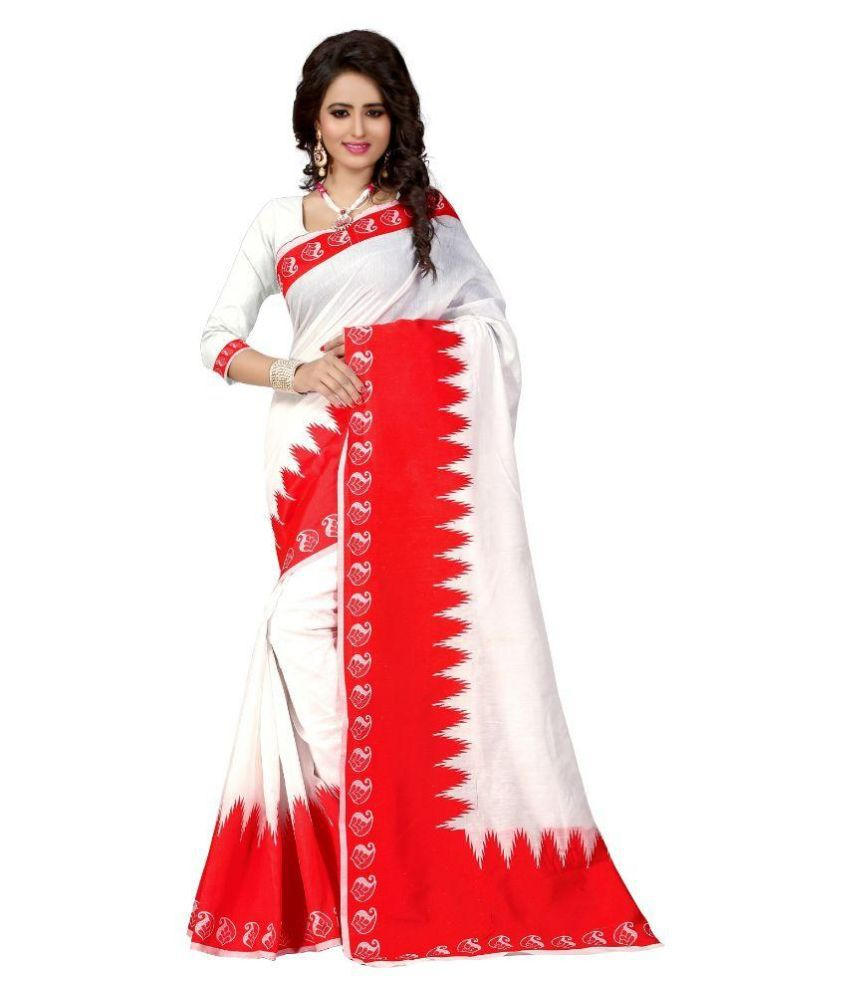 Pari Fashion White Art Silk Saree